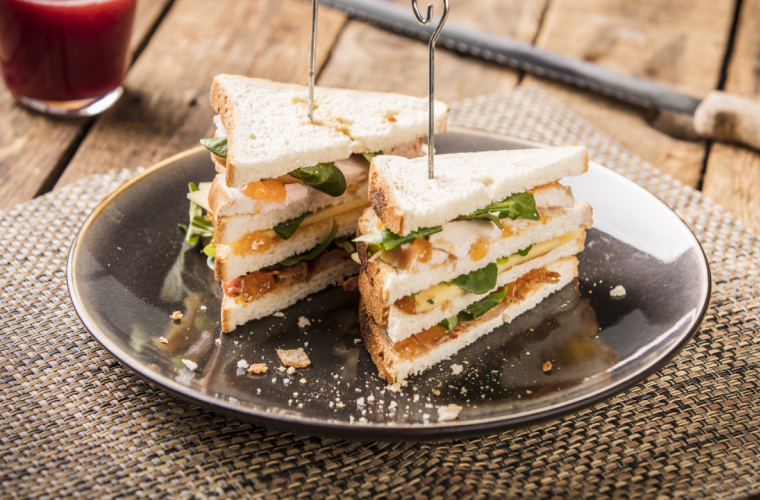 Club Sandwich with Smoked Chicken, Mature Cheese, Bacon, and Hero Black Cherry