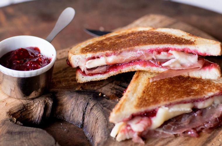 Grilled Cheese Sandwich with Brie and Hero Black Cherry